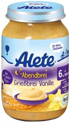 Alete BIO Příkrm kaše večerní krupicová vanilková 6m+ 190 g