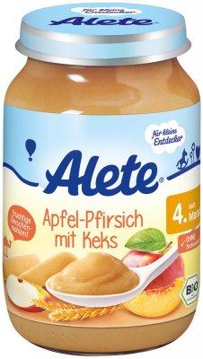 Alete BIO Příkrm jablko + broskev + sušenky 4m+ 190 g