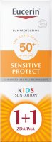 Eucerin SUN Sensitive Protect Kids SPF50+ dětské mléko na opalování 2x150 ml 1+1 ZDARMA