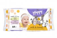 Bella Happy Mléko & Med vlhčené ubrousky 64 ks