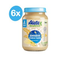 Alete BIO Příkrm kaše večerní semolinová s vanilkovou příchutí 6m+ 6x190 g