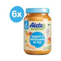 Alete BIO Příkrm špagety + zelenina + krůta 4m+ 6x190 g