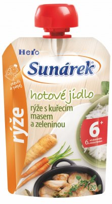 Sunárek Hotové jídlo rýže s kuřecím masem a zeleninou 120 g