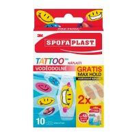 3M Spofaplast Voděodolné Tattoo dětské náplasti + 2 x Max Hold voděodolné náplasti 10 ks