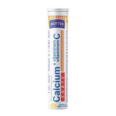 Biotter Calcium s vitamínem C FORTE 20 ks pomeranč šumivých tablet