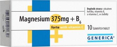 Generica Magnesium 375 mg + B6 forte + vitamin C 10 šumivých tablet