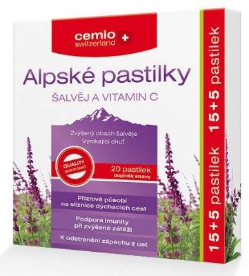 Cemio Alpské pastilky Šalvěj a vitamin C 15+5 pastilek