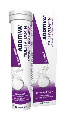 Additiva Multivitamin + Mineral + Kofein ananas 20 šumivých tablet