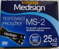 Testovací proužky Meditest Medisign MS-2 50 ks