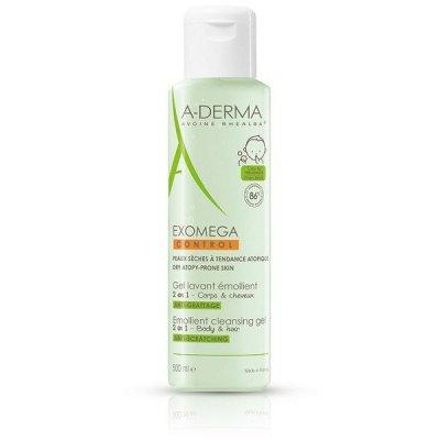 A-Derma Exomega Control Zvláčňující mycí gel 500ml pro suchou kůži se sklonem k atopii 2v1
