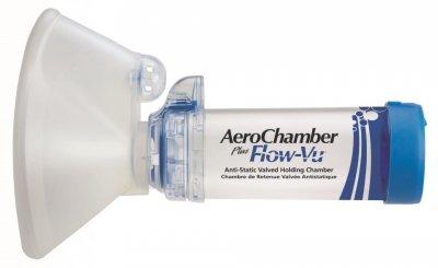 AEROCHAMBER PLUS FLOW-VU ANTI-STATIC VHC INHALAČNÍ NÁSTAVEC S CHLOPNÍ A MASKOU PRO DOSPĚLÉ