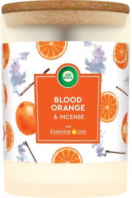 Air Wick Essential Oils svíčka Pomeranč & Vonná tyčinka 185g