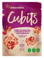 Almendro Cubits mandlové kostky s bílou čokoládou a malinami 25g