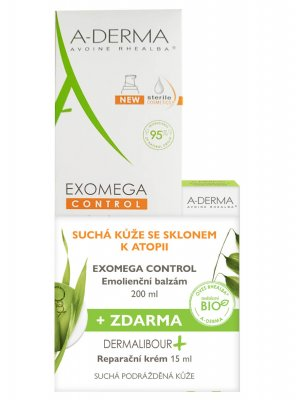 A-Derma Exomega control baume emollient 200ml + Dermalibor reparační krém 15ml
