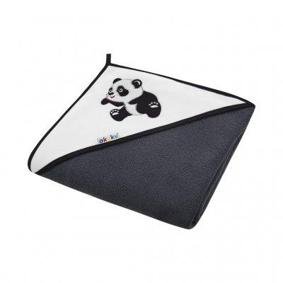 Akuku Dětská osuška černá s pandou 100x100cm