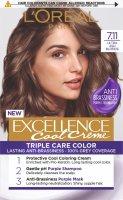 L'Oréal Paris Excellence Cool Creme 7.11 Ultra popelavá blond Permanentní barva 1ks