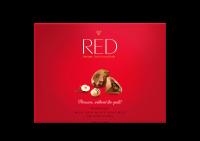Red bonboniera Výborná mléčná čokoláda s lískovými oříšky se sníženým obsahem kalorií bez přidaného cukru 132 g