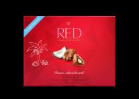 Red bonboniera Výborná mléčná čokoláda s kokosovou náplní se sníženým obsahem kalorií bez přidaného cukru 132g