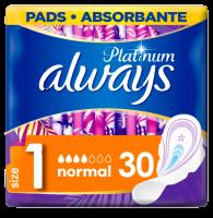 Always Platinum Normal (Velikost 1) Hygienické Vložky S Křidélky 30ks