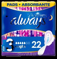 Always Platinum Night (Velikost 3) Hygienické Vložky S Křidélky 22ks