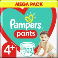 Plenkové Kalhotky Pampers Pants Velikost 4+ X102ks, 10-15kg