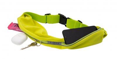 FIXED Univerzální sportovní opasek Sportbelt Duo se dvěmi kapsami, limetkový