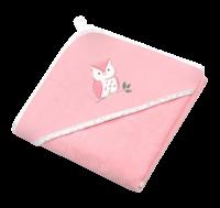 BabyOno Osuška s kapucí Velour 100x100, pink