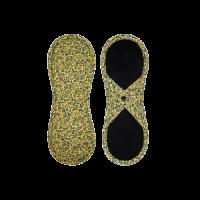 Bamboolik Látkové menstruační vložky biobavlna, satén s patentkem tmavě modré ornamenty na zlatavě žluté