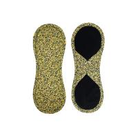 Bamboolik Látkové menstruační vložky biobavlna, satén se suchým zipem tmavě modré ornamenty na zlatavě žluté