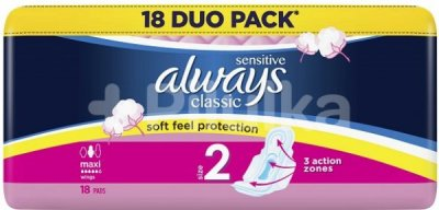 Always vložky Classic Normal Sensitive duo S2 18ks