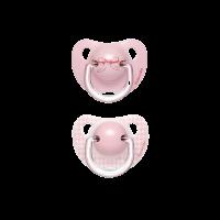 SUAVINEX šidítko TOYS Anatomické +6 m silikon 2 ks - Růžové (mašlička + káro)
