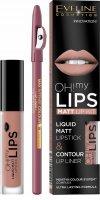 Eveline Oh my lips Lesk + konturovací tužka 08 Lovely rose - Eveline Cosmetics OH! my LIPS matná sada na rty 08 Lovely Rose 4,5 ml