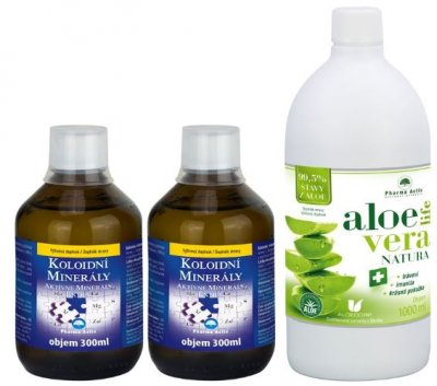Pharma Activ Koloidní minerály 2x 300ml + AloeVeraLife NATURA 1000ml