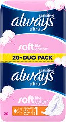 Always vložky Ultra Sensitive Normal Duo 20ks