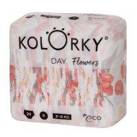 Kolorky DAY - květy - S (3-6 kg) jednorázové eko plenky 25ks