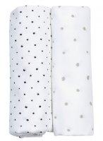 Plenka mušelínová BIO 2ks Grey and Black Dots 85x85cm - Motherhood. Plenka mušelínová BIO 2ks Grey and Black Dots 85x85cm
