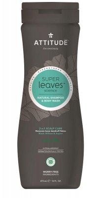 ATTITUDE Super leaves Přírodní pánský šampón & tělové mýdlo (2v1) s detoxikačním účinkem - proti lupům 473ml