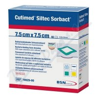 Cutimed Siltec Sorbact antimikrobní krytí 7.5x7.5cm 10ks